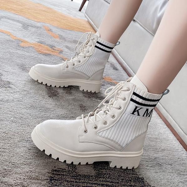 促銷大碼鞋 35-43 大碼女靴馬丁靴女秋冬英倫風厚底彈力靴41機車短靴ins潮42