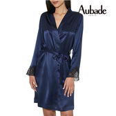 Aubade-Crepuscule 蠶絲L/XL及膝外袍(藍黑)VI65