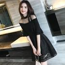 蕾絲洋裝 夏裝2021新款女裝韓版氣質名媛修身蕾絲連身裙網紗露肩韓系小黑裙禮服