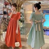 孕婦韓版寬鬆連身裙 孕婦連身裙 洋氣中長款洋裝