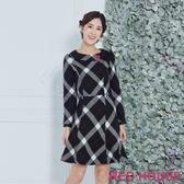 【RED HOUSE 蕾赫斯】格紋翻領洋裝(黑色)