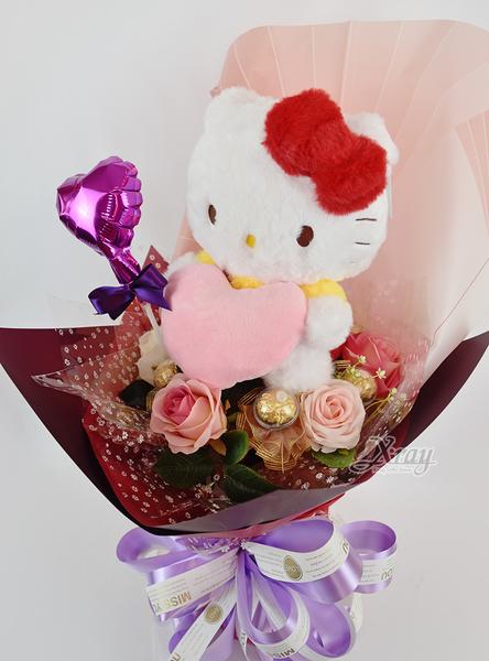 Hello Kitty 情人節金莎花束,客製化/情人節花束/畢業花束/禮物,節慶王【Y526967】