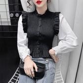 現貨寄出 時尚撞色襯衫女秋冬新款韓版收腰百搭褶皺拼接長袖娃娃衫上衣