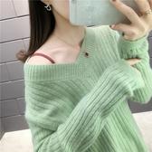 2020秋冬新款V領毛衣女學生正韓寬鬆大碼短款慵懶風針織衫上衣厚