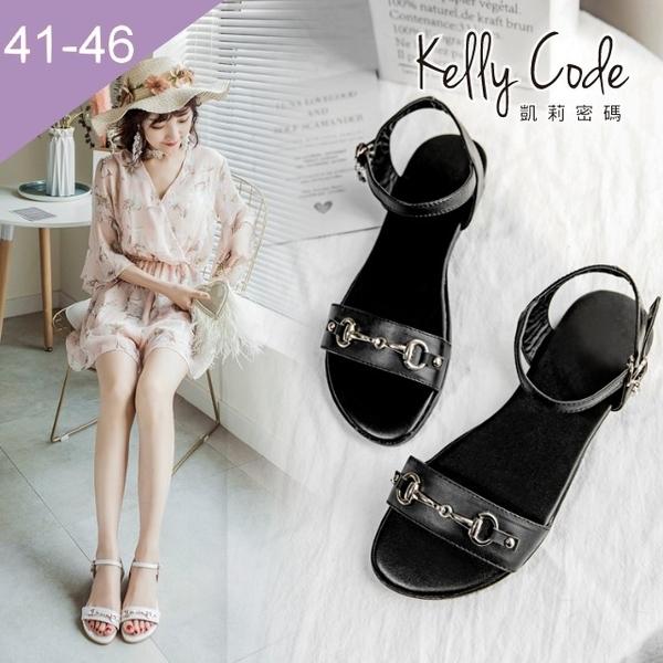 大尺碼女鞋-凱莉密碼-時尚金屬鎖鏈扣吊鑽真皮平底涼鞋2cm(41-46)【YG4060】黑色