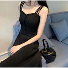 吊帶裙夏季法式仙女吊帶洋裝性感黑色氣質長款赫本小黑裙長裙女-鹿角巷