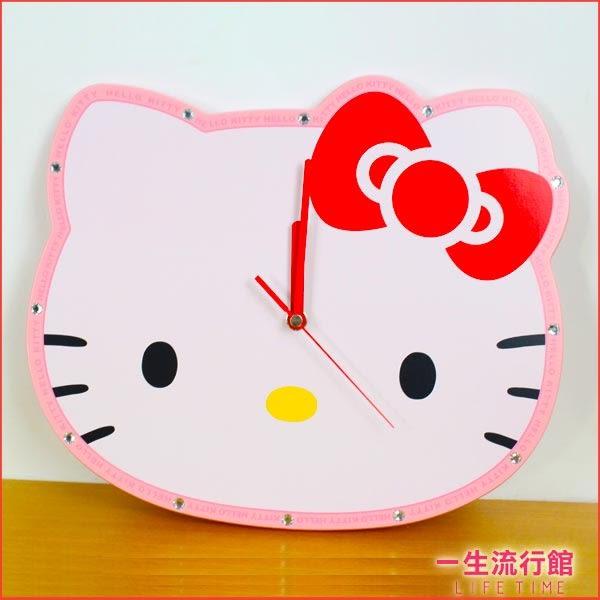 《限量》Hello Kitty 凱蒂貓 正版 木質大臉型 掛鐘 壁掛式 時鐘 靜音 機蕊 音樂 鬧鐘 B03022
