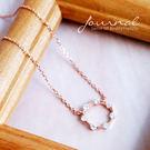 925純銀 細緻玫瑰金圈鑽 鎖骨鍊 短項...