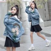 牛仔外套女新款寬鬆韓版bf寬鬆學生百搭刺繡花短牛仔衣  『洛小仙』女鞋
