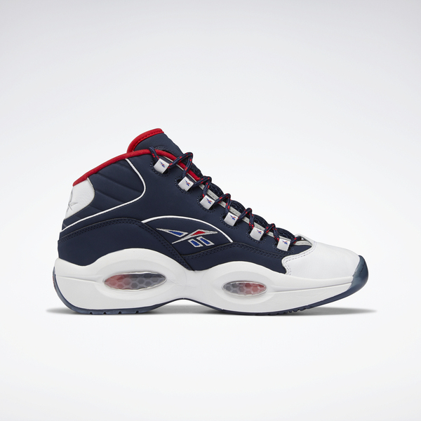 Reebok Question Mid [H01281] 男 籃球鞋 運動 戰神 艾佛森 蜂巢 中高筒 深藍 紅白