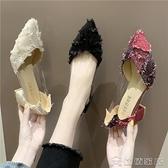 高跟鞋 春季新款女鞋夏季絨面高跟鞋粗跟淺口單鞋韓版女式包頭鞋子 16【快速出貨】