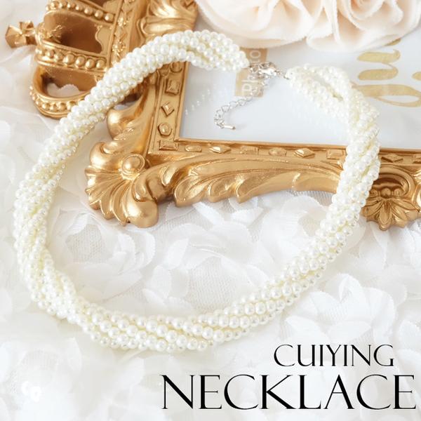 珍珠螺旋編織氣質項鍊~美之札