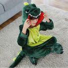 秋冬綠恐龍法蘭絨卡通動物連體睡衣男女小兒童學生寶寶演出家居服