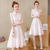 夏季新款中國風女裝蕾絲刺繡改良版旗袍中長款 DN7820【每日三C】