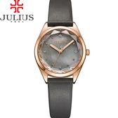 JULIUS 聚利時 星之守護貝殼面皮帶腕錶-深灰色/29mm 【JA-973E】