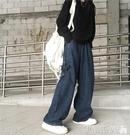 老爹褲 牛仔褲女秋ins韓版深色水洗直筒長褲寬鬆高腰闊腿褲老爹褲褲子潮 伊蒂斯