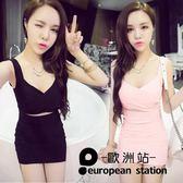 洋裝/女性感露背吊帶低胸打底連身裙「歐洲站」