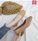 低跟鞋新款女鞋韓版百搭網紅低跟淺口單鞋壹腳蹬方頭復古奶奶鞋 【時尚新品】