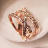 戒指 優雅氣質多層水鑽百搭歐美正韓女戒韓國時尚誇張女士戒指食指