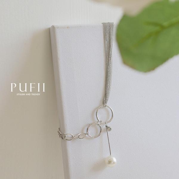 限量現貨★PUFII-項鏈 單珍珠雙鍊拼接項鏈-1031 現+預 秋【CP17481】