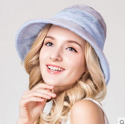 春夏桑蠶絲遮陽帽高端真絲防曬沙灘帽    -charle00560