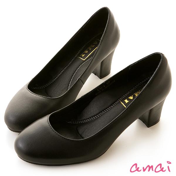 amai職場工作鞋。真羊皮柔軟夾心圓頭中跟鞋 黑