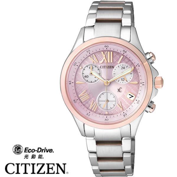 CITIZEN 星辰錶 XC光動能玫瑰金框粉面三眼女錶x32mm 日期顯示 FB1404-69W | 高雄名人鐘錶