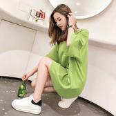 長版T恤 下衣失蹤女2019新款歐貨大版洋氣寬鬆牛油果綠色短袖t恤中長款潮