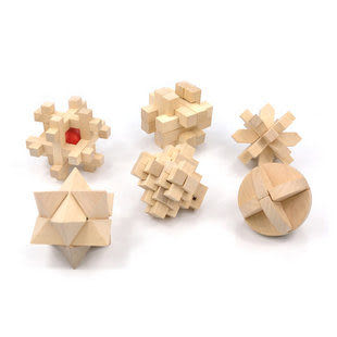 智力玩具 成人木制益智 魯班球 孔明鎖 解鎖類玩具 禮盒6件套