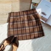MUMU【P60858】咖系毛呢格紋A字短裙。S/M