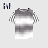 Gap男童 純棉質感厚磅短袖T恤 764972-灰色條紋