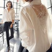 長袖襯衫 秋冬正韓新款寬鬆長袖性感襯衣中長款拼接蕾絲V領白襯衫【快速出貨八五鉅惠】