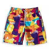 速干沙灘褲男寬鬆情侶花短褲潮流五分泳衣女海邊度假大碼泳褲套裝 【快速出貨八折免運】