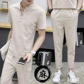 新款大碼男士兩件式棉麻套裝 夏季時尚薄款中國風短袖t恤 九分褲  CJ4088『易購3c館』