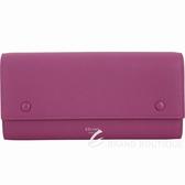 CELINE 大款 荔紋牛皮雙釦翻蓋式長夾(桃紫色) 1840412-87