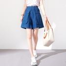 【慢。生活】設計款口袋寬版丹寧短褲 K2336  FREE 藍色