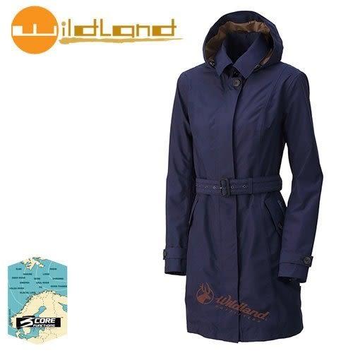 丹大戶外【Wildland】荒野 女款長版防水防風時尚外套 0A32909-80 藍紫色
