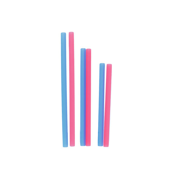 美國silikids 果凍餐具–六入矽膠吸管組(三種尺寸) 紅藍雙星