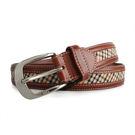 DAKS經典英倫格紋穿式皮帶(咖啡色)239206-1