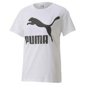 PUMA CLASSICS 女款白色經典LOGO短袖上衣-No.59761802