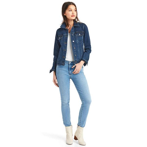 Gap女裝 經典舒適直筒長袖牛仔夾克 528553-深靛藍色