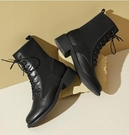 2020秋冬季新款馬丁靴女英倫風系帶高跟針織瘦瘦短靴女一米陽光