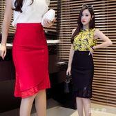 中大尺碼魚尾裙 韓版ol職業彈力緊身半身裙女蕾絲拼接性包臀裙 nm10768【野之旅】