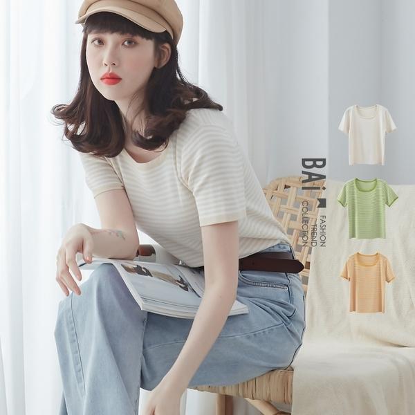 上衣 配色橫條紋超彈性短袖針織衫-BAi白媽媽【301180】