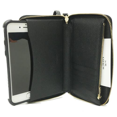 【COACH】C LOGO系列漆皮拉鍊中夾式手拿包手機包(黑)