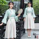 漢服古裝原創設計日常改良漢服清新刺繡交領上衣齊腰襦裙套女 618降價