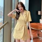 VK精品服飾 韓國風名媛西裝V領修身收腰顯瘦短袖洋裝