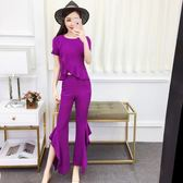 套裝女夏2018新款韓版荷花葉邊不規則褲子圓領短袖特色荷花葉邊褲
