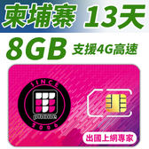 【TPHONE上網專家】柬埔寨 高速上網卡 13天 8GB超大流量