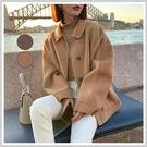 羊毛外套 翻領氣質雙面羊毛短大衣OM80623-創翊韓都